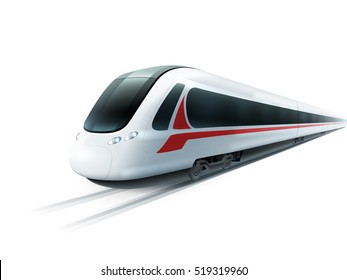 Super streamlined high-speed train on white background emblem realistic image ad poster isolated  illustration