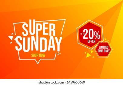 Super Sunday sale, advertisement, sales promotion banner, 20% percent offer illustration