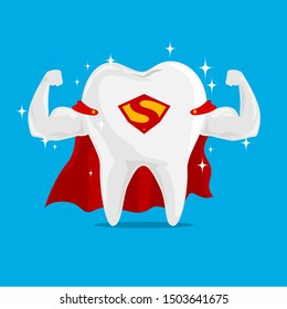Super Tooth Hero on iSolated Background. Concept of Very Strong Tooth Protection the Kids.