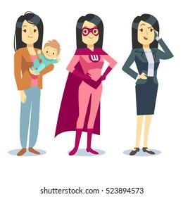 Super woman in superhero costume, mom with baby, businesswoman balancing concept. Motherhood and career job illustration
