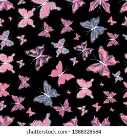 Superb background for design of fabric, paper, wrappers and wallpaper. Exotic animals. Seamless. Neutral, black and pink butterflies.