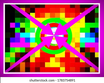 A superb colorful pattern of geometric illustration of pink colored arrows pointing to circled target with multi-colored tiled notional backdrop.