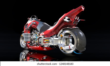 Superbike with chrome engine, red futuristic motorcycle isolated on black background, rear view, 3D rendering