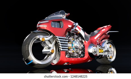 Superbike with chrome engine, red futuristic motorcycle isolated on black background, 3D rendering
