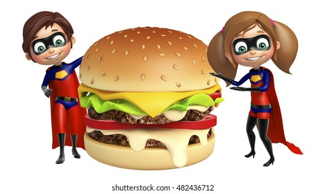 Superboy and Supergirl with Burger