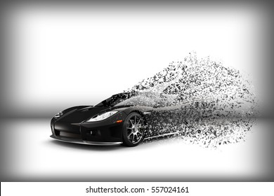 Supercar explosion 3d illustration