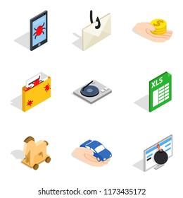 Supercomputer icons set. Isometric set of 9 supercomputer icons for web isolated on white background
