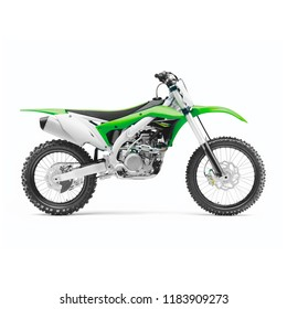 Supercross Off-Road Motorcycle Isolated on White Background. Side View of Modern Green Motocross Dirt Bike. AWD All Wheel Drive Racing Sportbike. Personal Transport. 3D Rendering