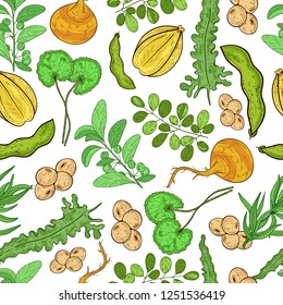 Superfood. Maca; gotu kola; coy; moringa; arjuna; laminaria; tarragon; guggul. Texture, background, wallpaper, seamless. Sketch.