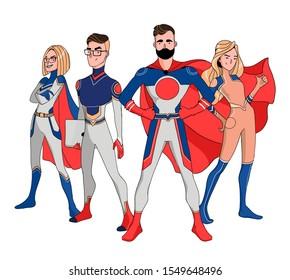 Superhero Couple Male and female superheroe