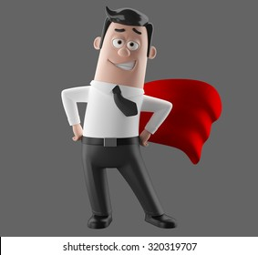Superhero with flowing red cloak, superman 3D cartoon illustrated styled character likable gay man in suit and tie, humorous representative symbol of strength, leadership, isolated without background