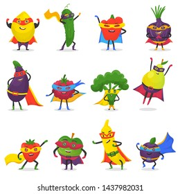 Superhero fruits fruity cartoon character of super hero expression vegetables with funny apple banana or pepper in mask illustration fruitful vegetarian diet set isolated on white background
