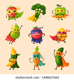 Superhero fruits fruity cartoon character of expression vegetables with funny super hero apple, banana and pepper in mask illustration fruitful vegetarian diet set isolated on background