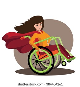 Superhero girl in a cool wheelchair.