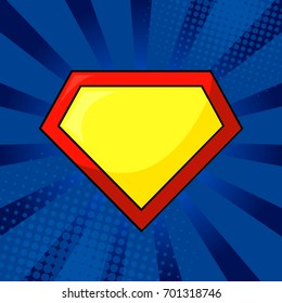 Superhero logo template at bright blue, pop art background. Isolated, eps10.