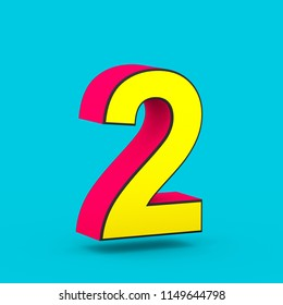 Superhero number 2. 3D render of stylized retro red and yellow font isolated on blue background.