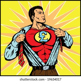superhero with pound symbol on his chest changing