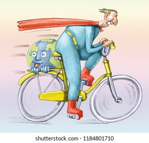 superhero races in bicycle it brings with if a smiling and happy world humorous conceptual illustration draw of a everyday hero