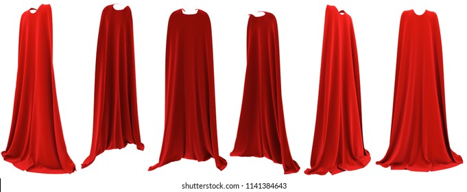Superhero red cape hanging from shoulders set isolated on white background. 3D rendering. Front, back and side view. Superpower concept.