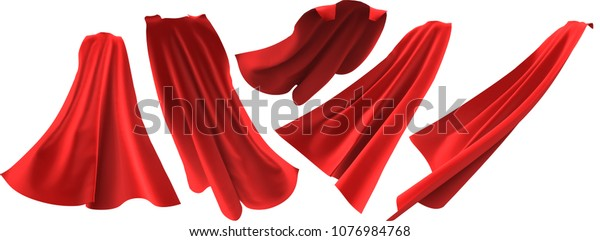 Superhero red cape set isolated on white background. 3D rendering. Front, back and side view. Superpower concept.