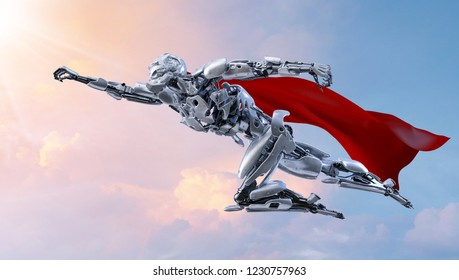 Superhero robot flying. Android, humanoid or cyborg power artificial intelligence technology concept. Clipping path included. 3D illustration.