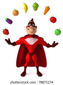 Superhero and vegetables