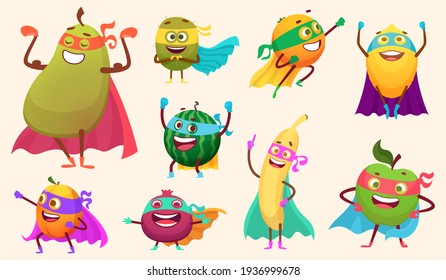 Superheroes fruits collection. Characters healthy vegetables comics style action poses garden food mascot collection