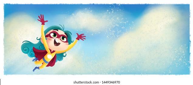 superheroine girl flying through the happy sky