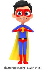Superman boy shows two thumbs up. 3d render illustration.
