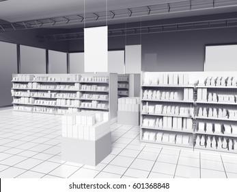 supermarket. 3D rendering