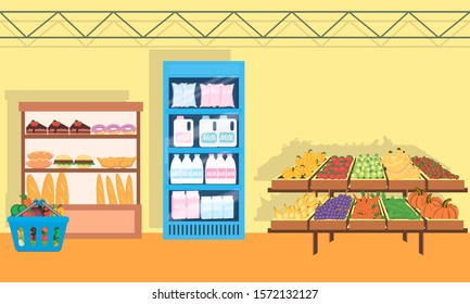 supermarket background with different departments