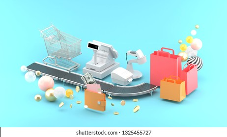 Supermarket belts are surrounded by pockets, shopping bags, shopping carts, and calculators on a blue background.-3d rendering.