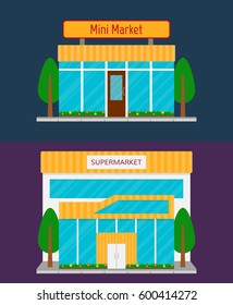 Supermarket building front facade and minimarket grocery store icon. Illustration in flat style.