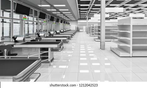 Supermarket cash registers. 3d illustration. Isolated on white