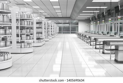 Supermarkt-Registrierkassen und Regale mit Waren.3D-Abbildung.