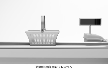 Supermarket counter with basket