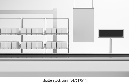 Supermarket counter with poster