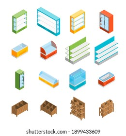 Supermarket Elements 3d Icons Set Isometric View Isolated on White Background Shelf and Showcase Different Types. illustration