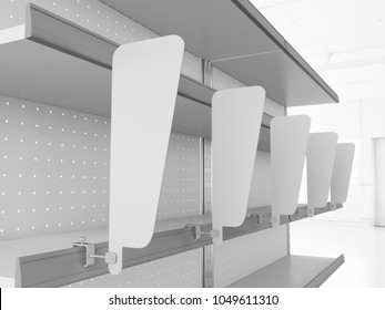 Supermarket Empty Shelf with blank wobblers. 3D rendering