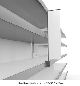 Supermarket empty shelves. 3d render
