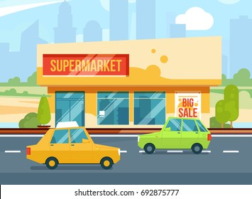 Supermarket exterior. Modern urban buildings, Cityscape with mall. Parking with cars. illustration set. Building exterior, supermarket, urban store market