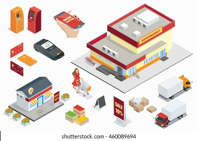 Supermarket exterior, Online shopping, credit cart, pos terminal, box, minimarket, banktomat, woman holding shopping-cart.  Isometric illustration.