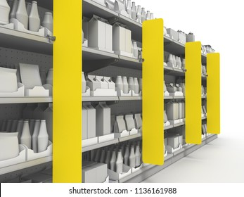 Supermarket Or Grocery With Lots Of Products On Shelves. 3D rendering