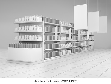 supermarket with hangers. 3D rendering