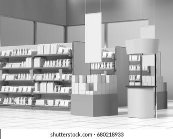 Supermarket interior with hangers. 3D rendering