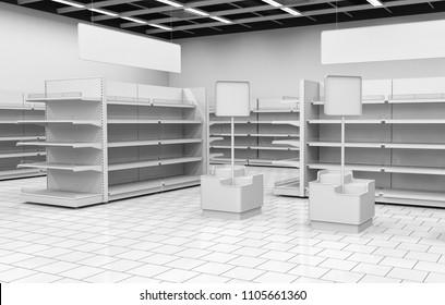 Supermarket interior of a supermarket with shelves for goods. 3d illustration