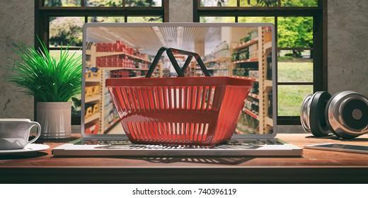 Supermarket online shopping concept. Shopping basket on a laptop. 3d illustration