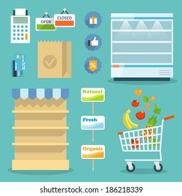 Supermarket online website concept with food assortment, opening hours and payment options icons illustration