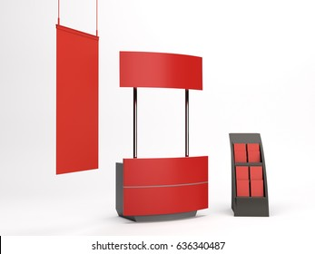 Supermarket portable event stand or kiosk. 3D rendering