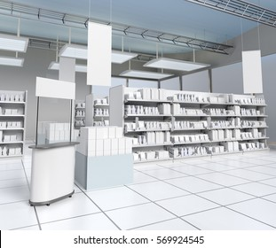 Supermarket with products on shelves. 3D rendering